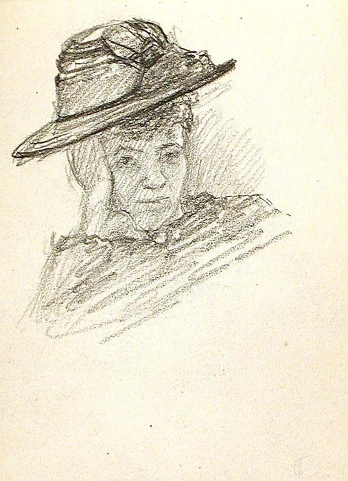 famous painting Woman in Hat of John Ottis Adams