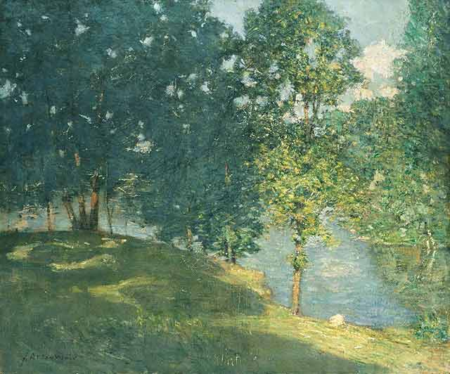 famous painting Afternoon by the Pond of Julian Alden Weir