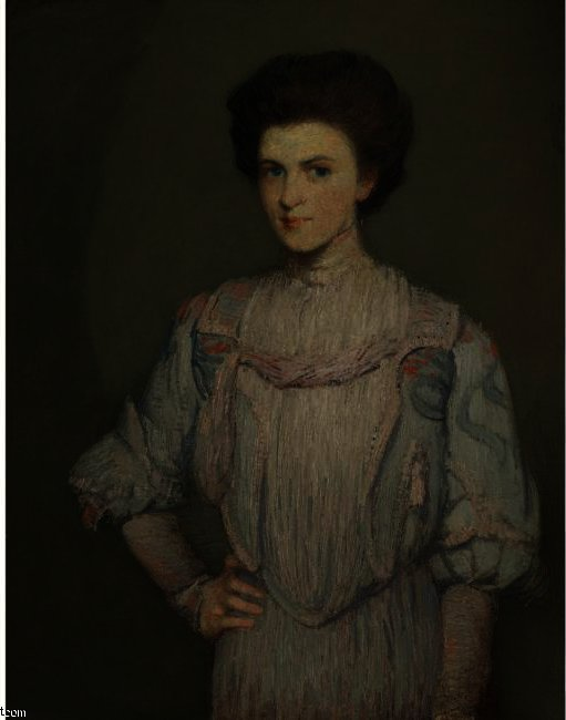 famous painting AN AMERICAN GIRL of Julian Alden Weir