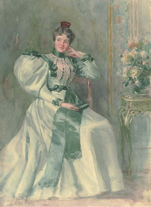 famous painting An Old Fashioned Figure of Julian Alden Weir