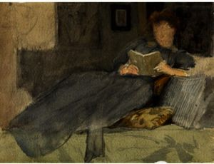 Julian Alden Weir - Anna D. Weir On The Sofa At Branchville