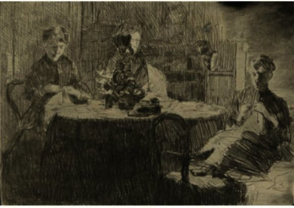 famous painting Around The Table of Julian Alden Weir
