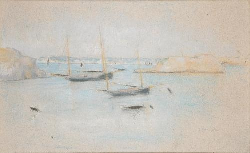 famous painting Boats of Julian Alden Weir