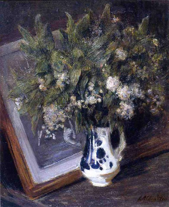 famous painting Flowers in a Delft Jug of Julian Alden Weir