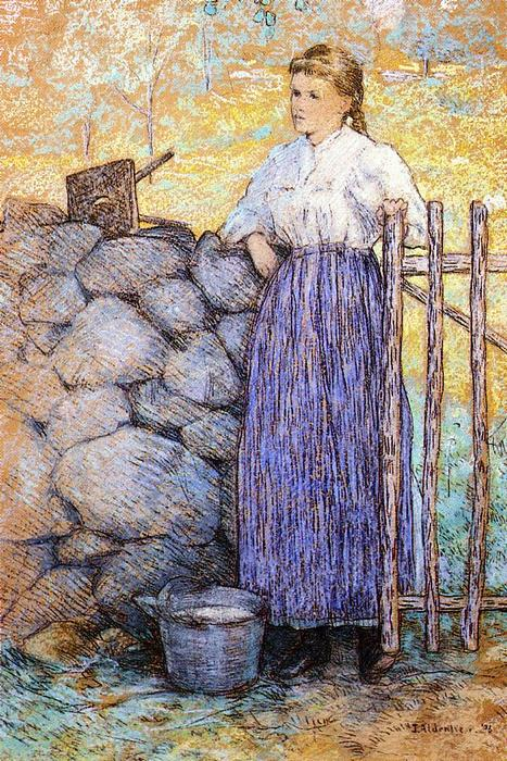 famous painting Girl Standing by a Gate of Julian Alden Weir
