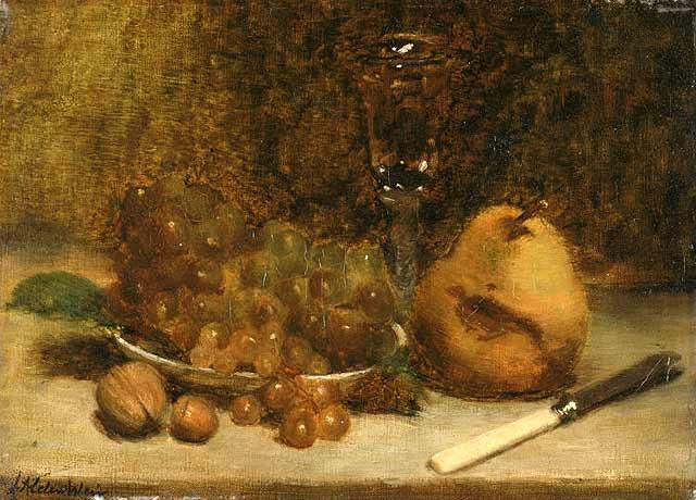 famous painting Grapes Knife and Glass of Julian Alden Weir