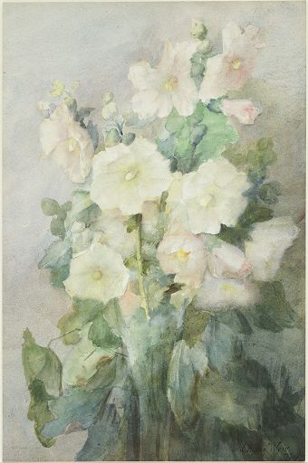 famous painting Hollyhocks of Julian Alden Weir