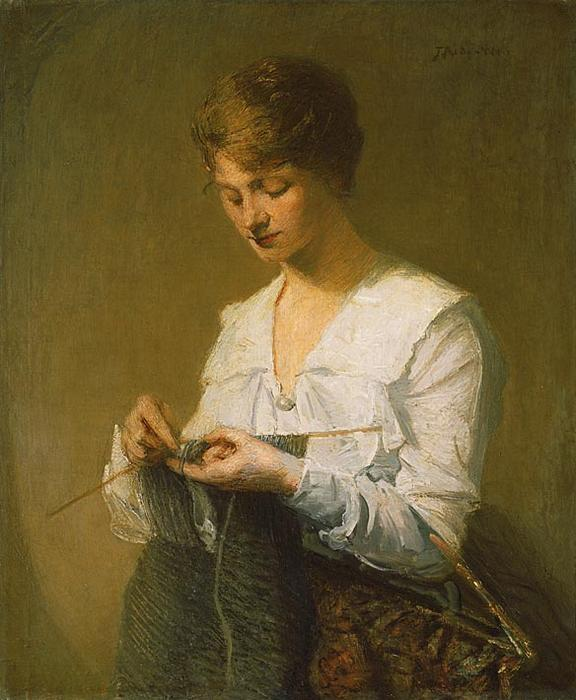 famous painting Knitting for Soldiers of Julian Alden Weir