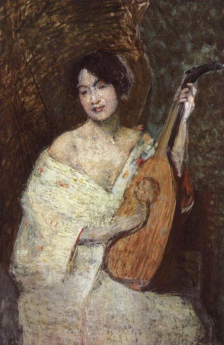 famous painting Lady with a Mandolin of Julian Alden Weir