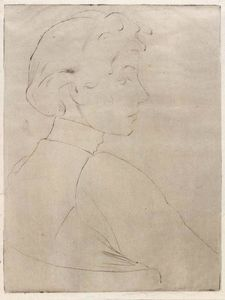 Julian Alden Weir - Large Head in Profile