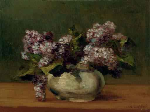famous painting Lilacs in a Bowl of Julian Alden Weir