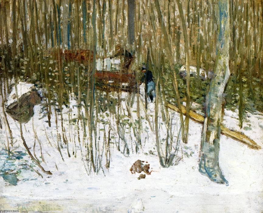 famous painting Loading Ice of Julian Alden Weir