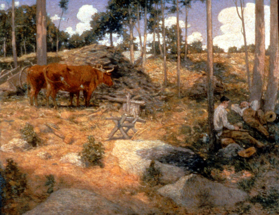 famous painting Noonday Rest in New England of Julian Alden Weir