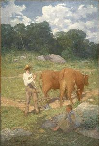 Julian Alden Weir - Ploughing for Buckwheat (New England Plowman)