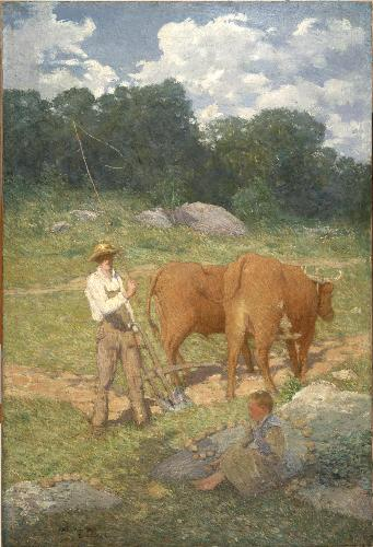 famous painting Ploughing for Buckwheat (New England Plowman) of Julian Alden Weir