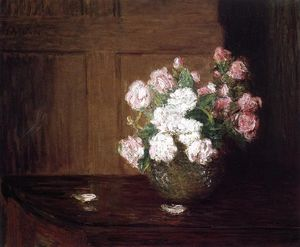 Julian Alden Weir - Roses in a Silver Bowl on a Mahogany Table