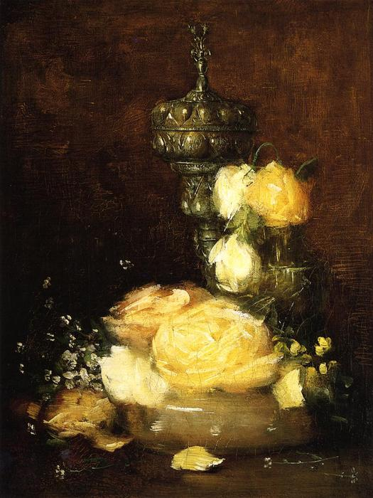 famous painting Silver Chalice with Roses of Julian Alden Weir
