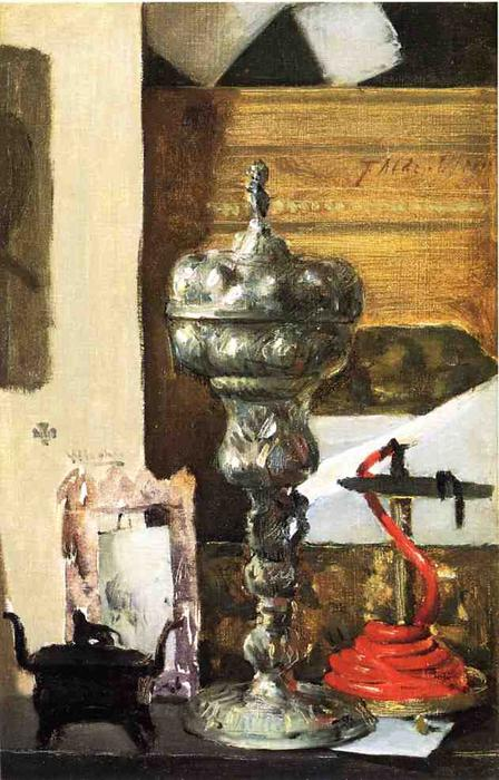 famous painting Silver Chalice, Japanese Bronze and Red Tapir of Julian Alden Weir