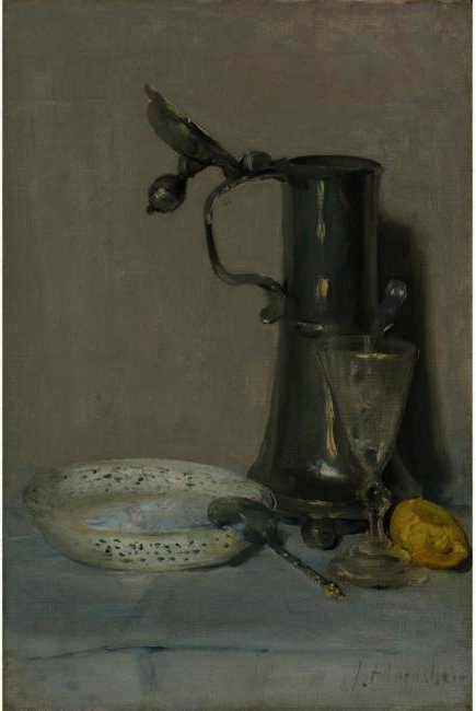 famous painting STILL LIFE WITH FLAGON, GLASS AND BOWL of Julian Alden Weir