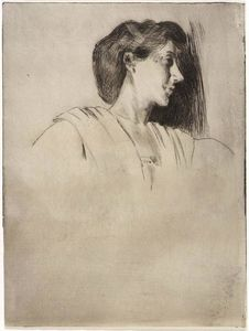 Julian Alden Weir - Study of a Woman's Head in Profile