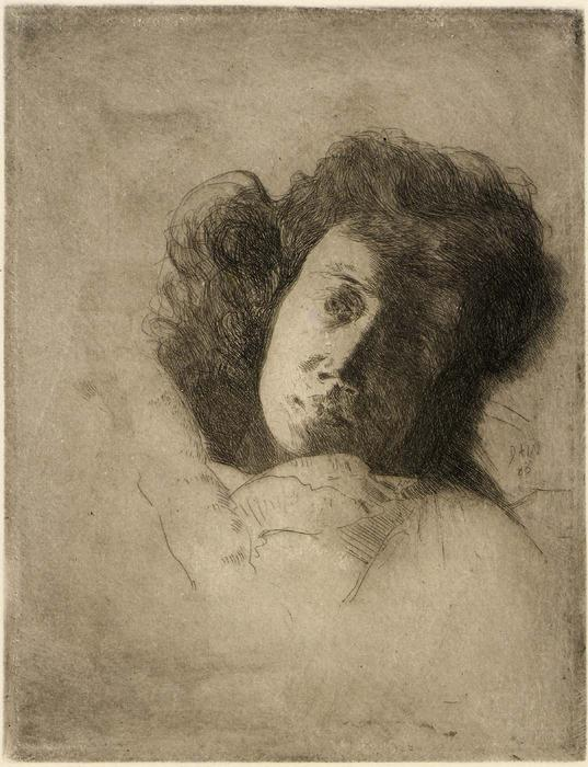 famous painting Study of a Woman's Head of Julian Alden Weir
