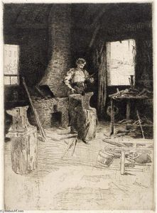 Julian Alden Weir - The Blacksmith's Shop