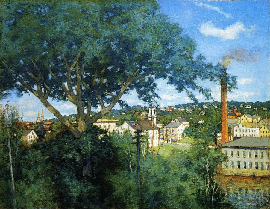 famous painting The Factory Village of Julian Alden Weir