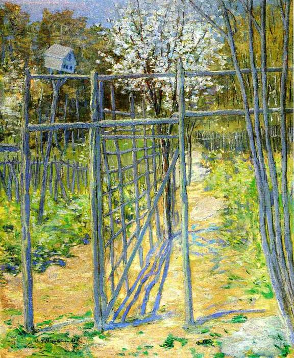 famous painting The Grey Trellis of Julian Alden Weir