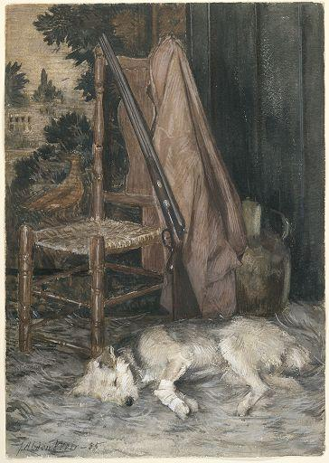 famous painting The Hunter's Dog and Gun of Julian Alden Weir