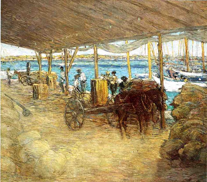 famous painting The Wharves, Nassau of Julian Alden Weir
