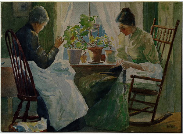 famous painting Two Women Sewing of Julian Alden Weir