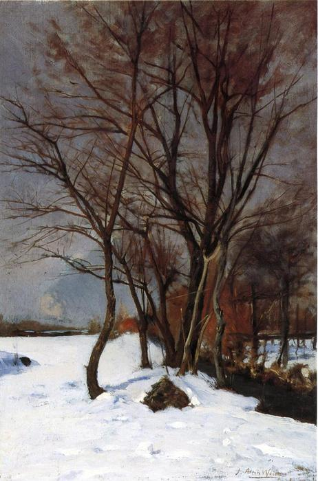 famous painting Winter Landscape with Stream of Julian Alden Weir