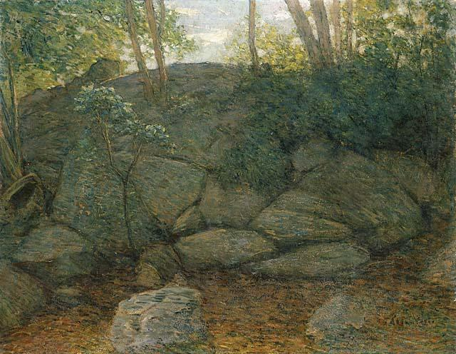 famous painting Woodland Rocks of Julian Alden Weir