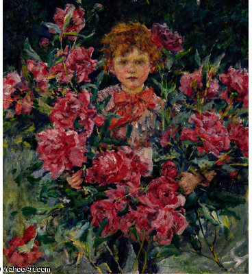 famous painting Boy With Red Peonies of Robert Lewis Reid
