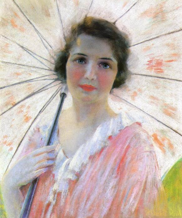 famous painting Lady with a Parasol of Robert Lewis Reid