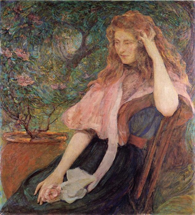 famous painting The Pink Cape of Robert Lewis Reid