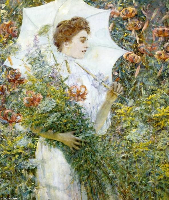famous painting The White Parasol of Robert Lewis Reid