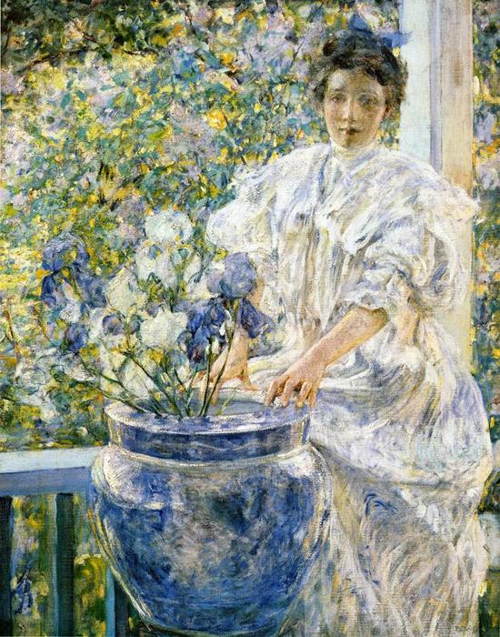 famous painting Woman on a Porch with Flowers of Robert Lewis Reid