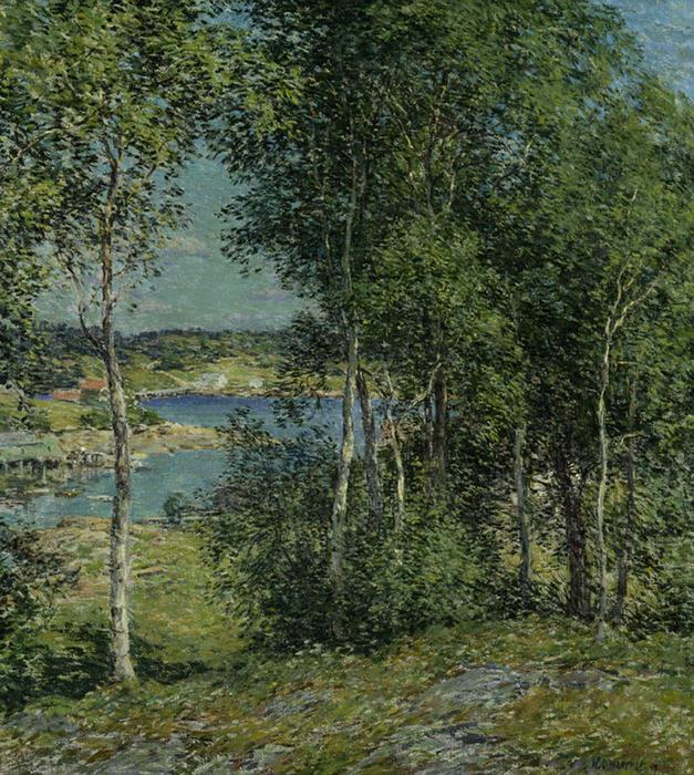 famous painting A Family of Birches of Willard Leroy Metcalf