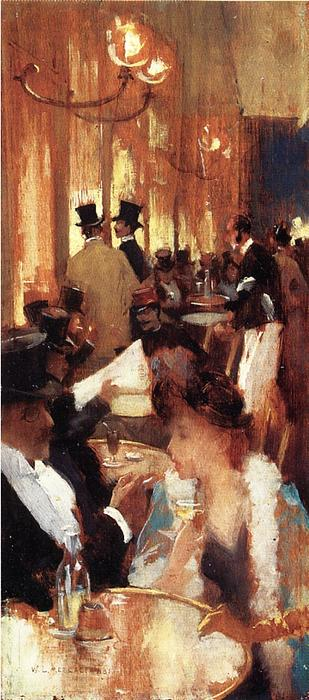 famous painting Au Cafe of Willard Leroy Metcalf