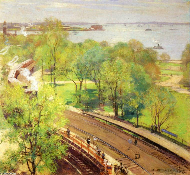famous painting Battery Park - Spring of Willard Leroy Metcalf