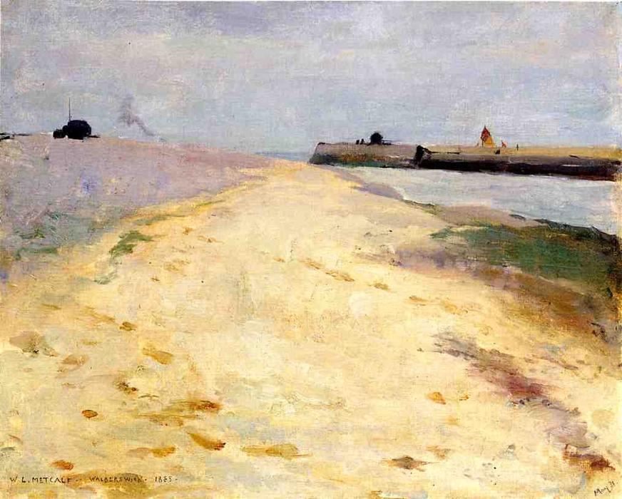 famous painting By The Shore, Walberswick of Willard Leroy Metcalf