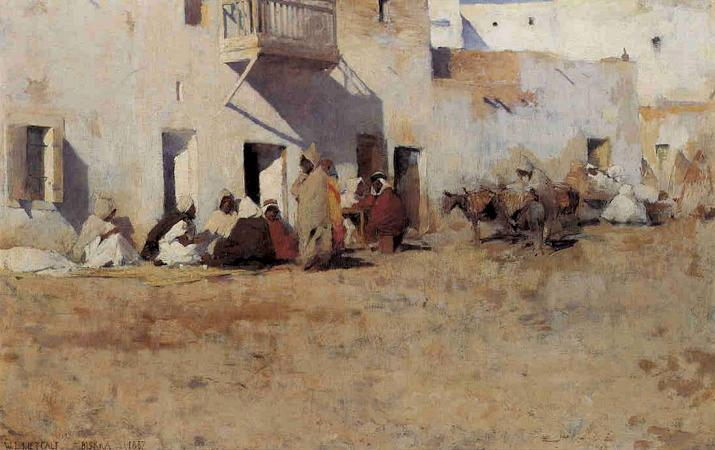 famous painting Cafe at Biskra, Algiers of Willard Leroy Metcalf