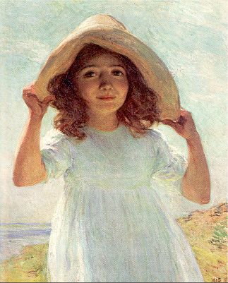 famous painting Child in Sunlight of Willard Leroy Metcalf