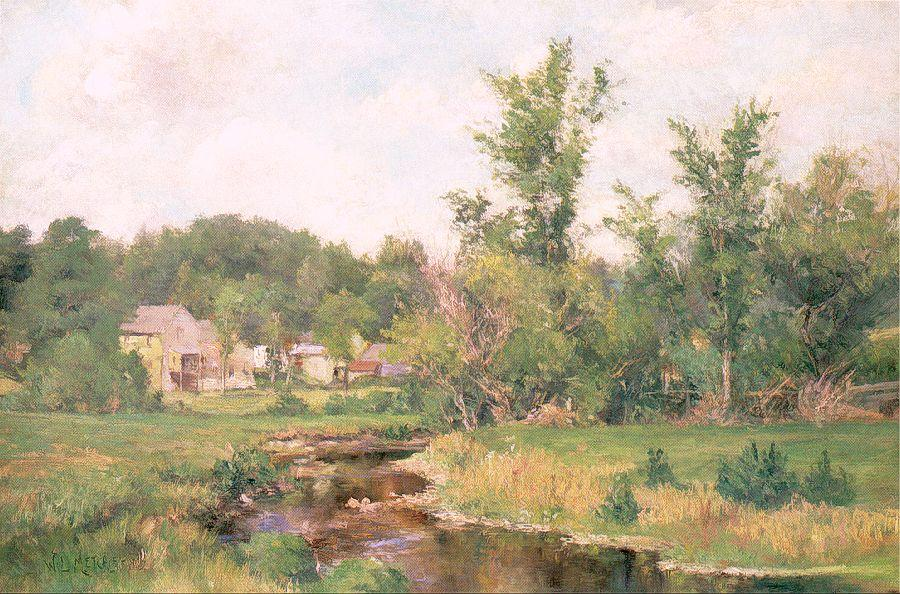 famous painting Farm Scene of Willard Leroy Metcalf