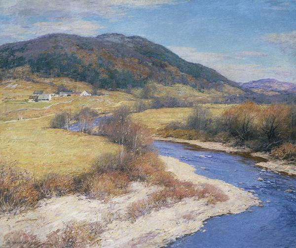 famous painting ndian Summer, Vermont of Willard Leroy Metcalf