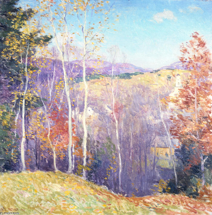 famous painting October Sunshine of Willard Leroy Metcalf