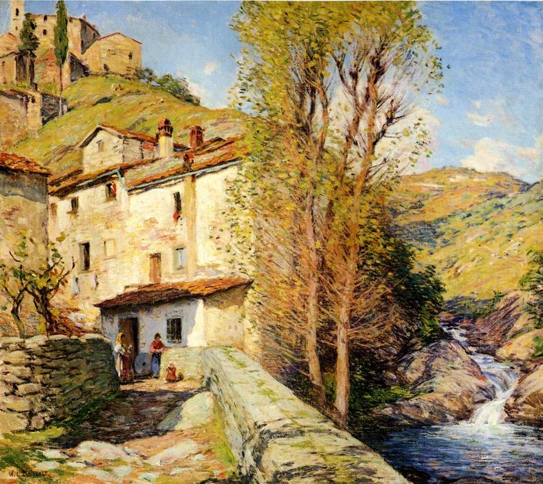 famous painting Old Mill, Pelago, Italy of Willard Leroy Metcalf