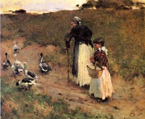 Willard Leroy Metcalf - Old Woman with Child and Goose