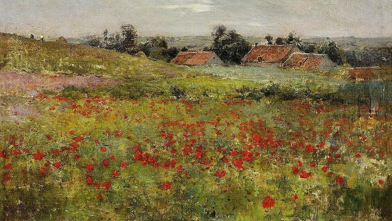 famous painting Poppy Field, Giverny of Willard Leroy Metcalf